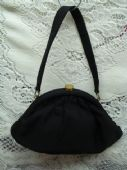 1950's Grosgrain Waldy Bag - Black with Cerise Pink Satin Lining(sold)